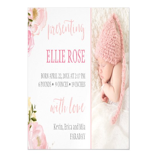 Watercolor Roses Photo Birth Announcement Magnet Magnetic Invitations