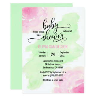 Watercolor Roses Pink & Mint Green Baby Shower Card