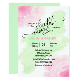 Watercolor Roses Pink & Mint Green Bridal Shower Card