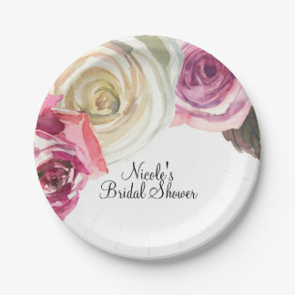 Watercolor Roses Pink & White Chic Bridal Shower Paper Plate