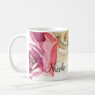 Watercolor Roses Pink & White Chic Floral Glam Coffee Mug