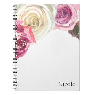 Watercolor Roses Pink & White Chic Floral Glam Notebooks