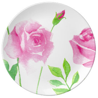 Watercolor roses plate