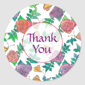Watercolor Roses Purple Mauve Thank You Round Sticker