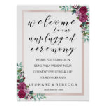 Watercolor roses unplugged ceremony sign