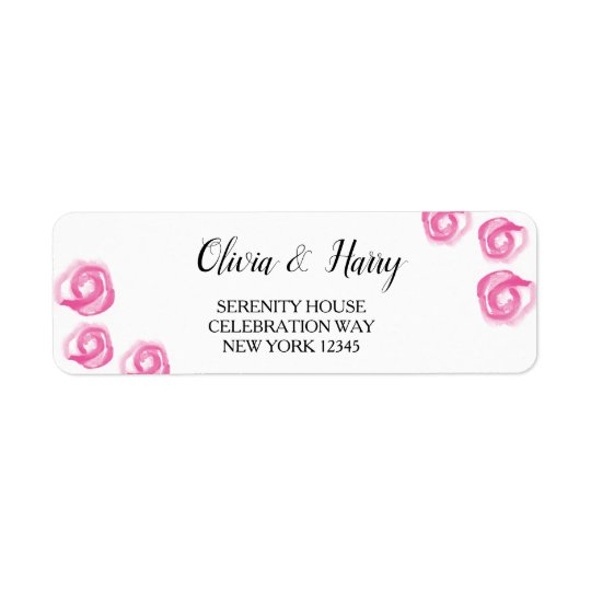 Watercolor Roses Wedding Return Address Labels