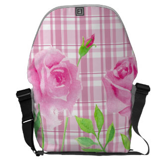 Watercolor roses with plaid backbag Rickshaw Courier Bags