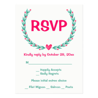 Watercolor RSVP Pink Green Floral Wreath Wedding Postcard