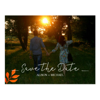 Watercolor rust leaves fall wedding save date postcard