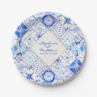 Watercolor Rustic Country Blue White Tile Diamond Paper Plate