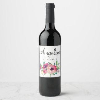Watercolor Rustic Floral Bridesmaid Wine Label