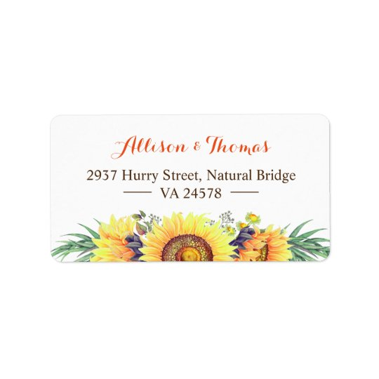 Watercolor Rustic Sunflowers Stylish Wedding Label