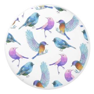 Watercolor Safari: Birds (Customize BG Color!) Ceramic Knob