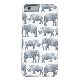 Watercolor Safari Elephants & Rhinos Pattern Barely There iPhone 6 Case