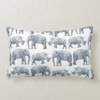 Watercolor Safari Elephants & Rhinos Pattern Lumbar Pillow