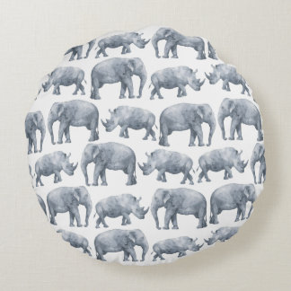 Watercolor Safari Elephants & Rhinos Pattern Round Pillow