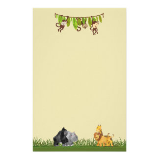 Watercolor Safari Jungle Animal Illustration Personalized Stationery