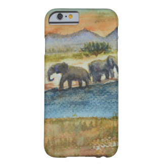 Watercolor Safari Sunset Elephant Scene Barely There iPhone 6 Case