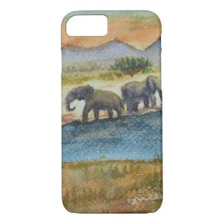 Watercolor Safari Sunset Elephant Scene iPhone 7 Case