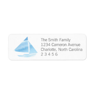 Watercolor Sailboat Blue Return Address
