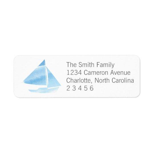 Watercolor Sailboat Blue Return Address