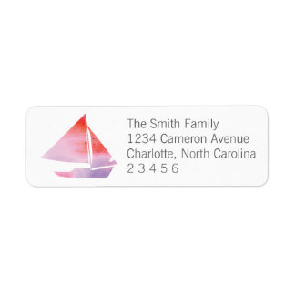 Watercolor Sailboat Girl Return Address