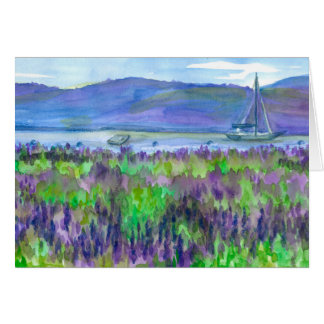 Watercolor Sailboat Lupines Happy Birthday Card
