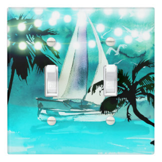 Watercolor Sailboat Palm Trees & String Lights Light Switch Cover