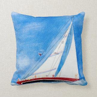 watercolor sailboat throw pillow