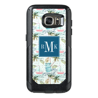 Watercolor Sailboat with Palm Tree Pattern OtterBox Samsung Galaxy S7 Case