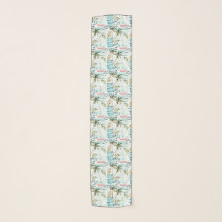 Watercolor Sailboat with Palm Tree Pattern Scarf