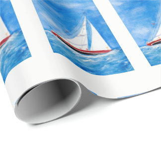watercolor sailboat wrapping paper