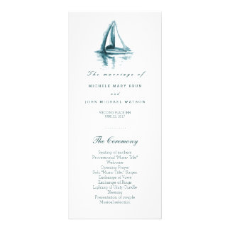 Watercolor Sailing Boat Wedding Program Rack Cards