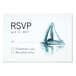 "Watercolor Sailing Boat Wedding RSVP Response Card 3.5"" X 5"" Invitation Card"