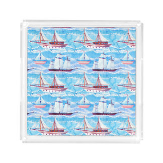 Watercolor Sailing Ships Pattern Acrylic Tray