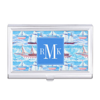 Watercolor Sailing Ships Pattern Business Card Holder