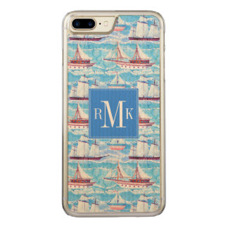 Watercolor Sailing Ships Pattern Carved iPhone 8 Plus/7 Plus Case