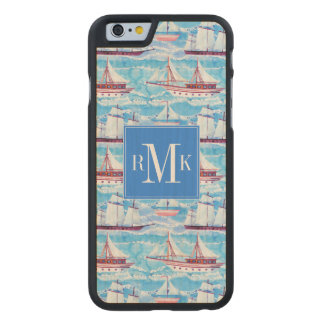 Watercolor Sailing Ships Pattern Carved Maple iPhone 6 Case