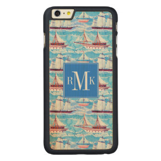 Watercolor Sailing Ships Pattern Carved Maple iPhone 6 Plus Case