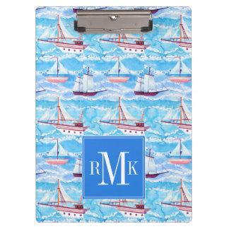 Watercolor Sailing Ships Pattern Clipboard
