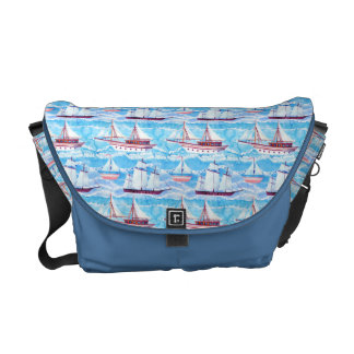 Watercolor Sailing Ships Pattern Courier Bag