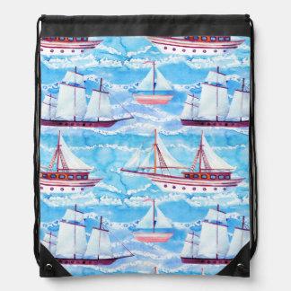 Watercolor Sailing Ships Pattern Drawstring Bag