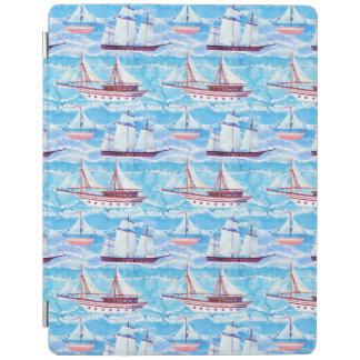Watercolor Sailing Ships Pattern iPad Cover