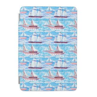 Watercolor Sailing Ships Pattern iPad Mini Cover