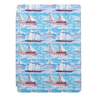 Watercolor Sailing Ships Pattern iPad Pro Cover