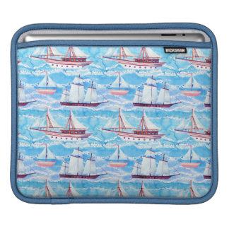 Watercolor Sailing Ships Pattern iPad Sleeve