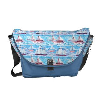 Watercolor Sailing Ships Pattern Messenger Bags
