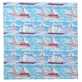 Watercolor Sailing Ships Pattern Napkin