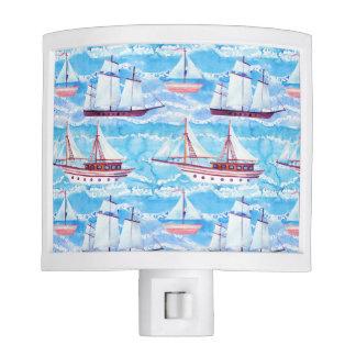 Watercolor Sailing Ships Pattern Night Lights