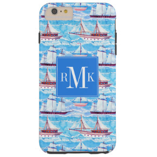 Watercolor Sailing Ships Pattern Tough iPhone 6 Plus Case